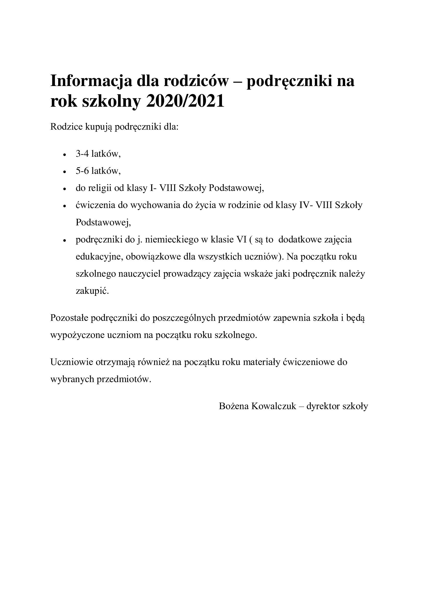 Informacja dla rodziców – podręczniki na rok szkolny 2020/2021