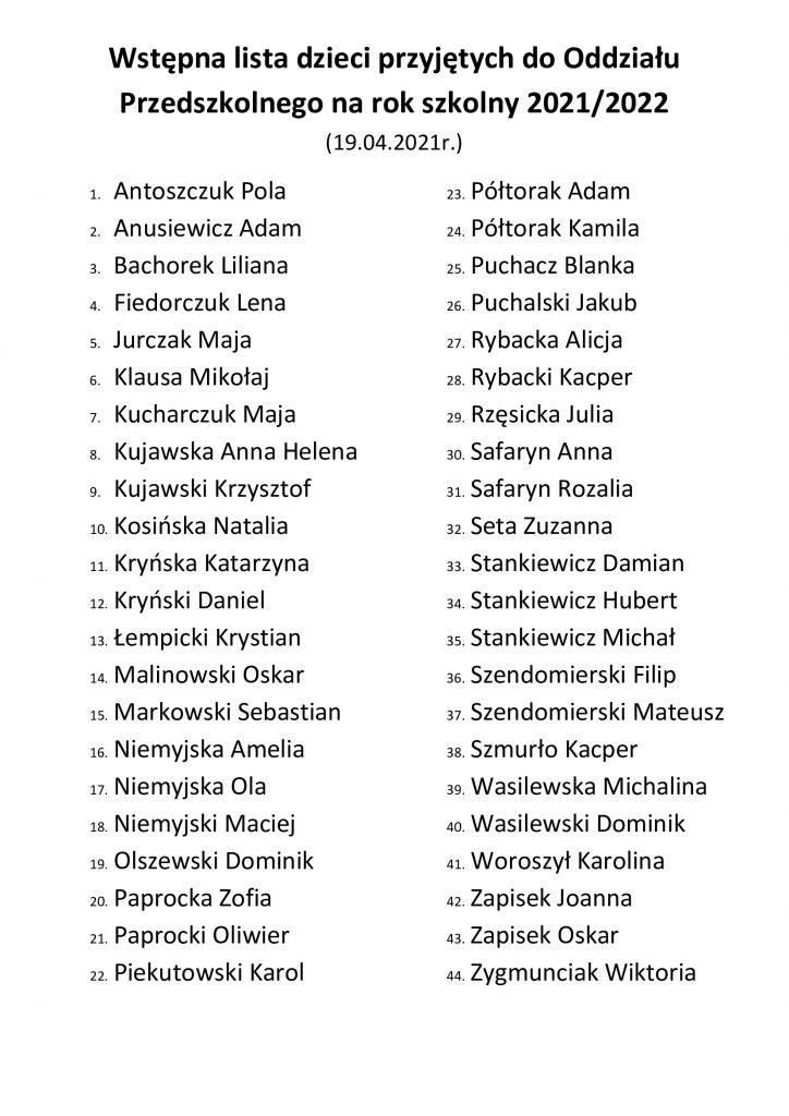 Wstępna lista dzieci przyjętych do Oddziału Przedszkolnego na rok szkolny 2021/2022